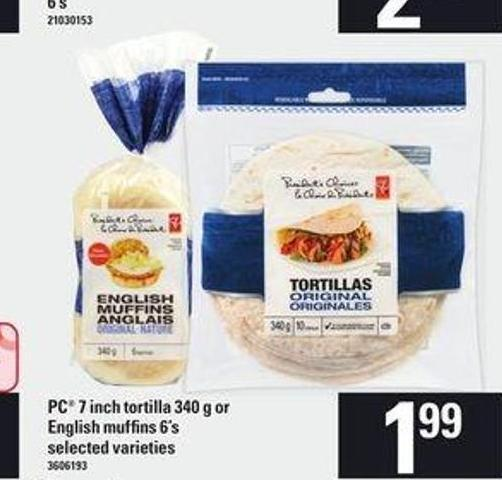 PC 7 Inch Tortilla 340 G Or English Muffins 6's