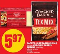 Saputo Mozzarellissima - 500 G Or Cracker Barrel Shreds - 250-320 G