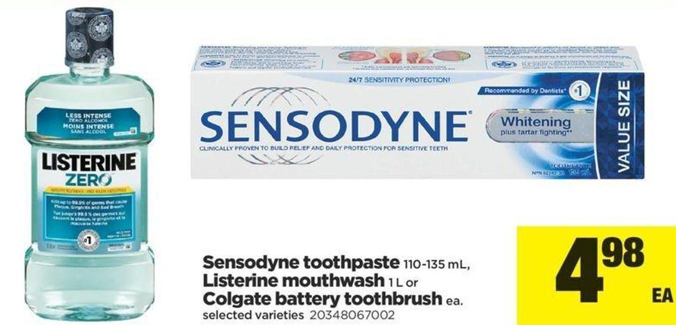 Sensodyne Toothpaste - 110-135 Ml - Listerine Mouthwash - 1 L Or Colgate Battery Toothbrush