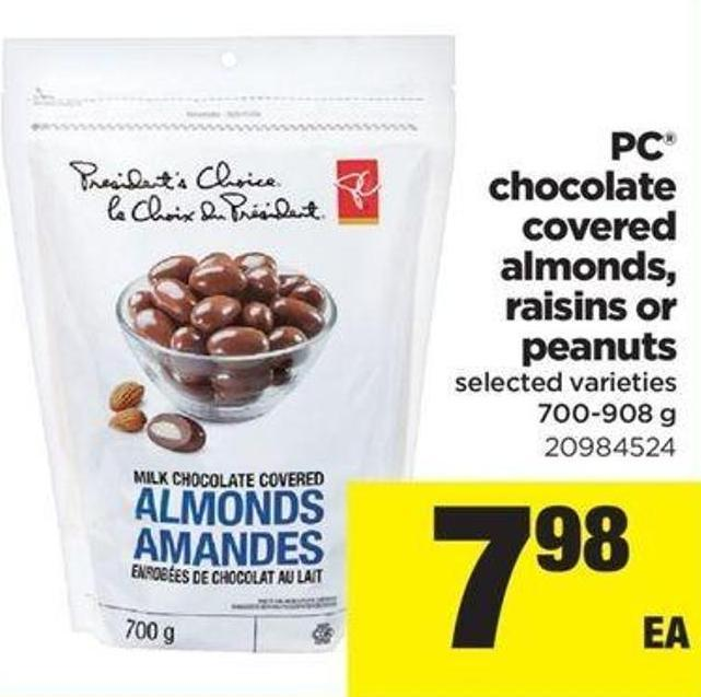 PC Chocolate Covered Almonds - Raisins Or Peanuts - 700-908 G