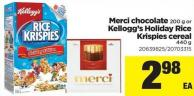 Merci Chocolate - 200 G Or Kellogg's Holiday Rice Krispies Cereal - 440 G