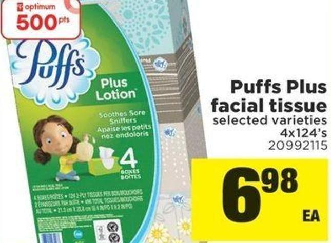 Puffs Plus Facial Tissue - 4x124's
