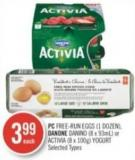 PC Free-run Eggs (1 Dozen) - Danone Danino (8 X 93ml) or Activia (8 X 100g) Yogurt