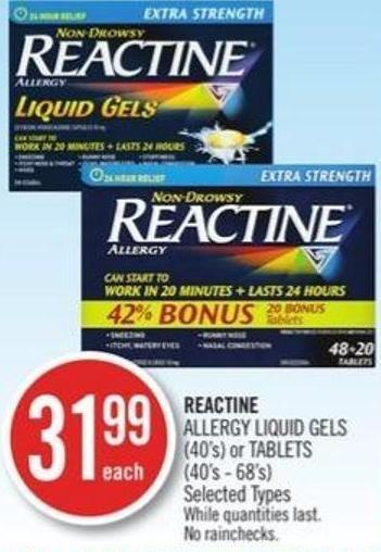 Reactine Allergy Liquid Gels (40s) or Tablets (40's-68's)