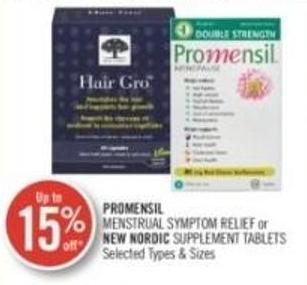 Promensil Menstrual Symptom Relief or New Nordic Supplement Tablets