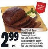 Front Street Bakery Pumpernickel Or Sourdough Bread 500 - 675 g