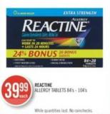 Reactine Allergy Tablets 84's - 104's