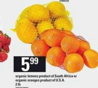 Organic Lemons or Organic Oranges - 2 Lb