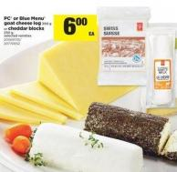 PC Or Blue Menu Goat Cheese - Log 300 G Or Cheddar Blocks - 250 G