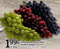 Jumbo Green - Red Or Black Seedless Grapes