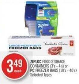 Ziploc Food Storage Containers (3's - 4's) or PC Freezer Bags (10's - 40's)
