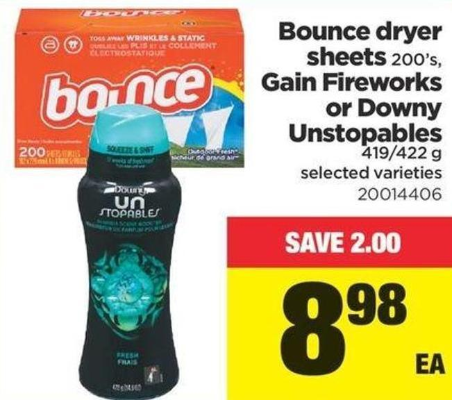 Bounce Dryer Sheets - 200's - Gain Fireworks Or Downy Unstopables - 419/422 G