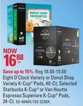 Eight O'clock Variety or Donut Shop Variety K-cup Pods - 40-ct
