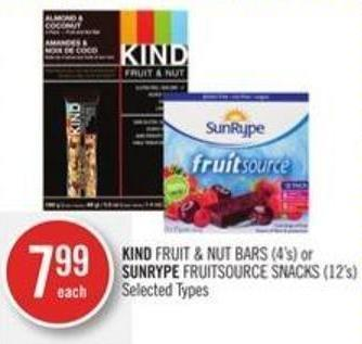 Kind Fruit & Nut Bars (4's) or Sunrype Fruitsource Snacks (12's)
