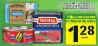 Holiday Luncheon Meat Or Maple Leaf Flakes Or Brunswick Sardines