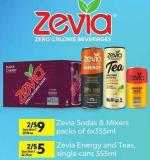 Zevia Sodas & Mixers - Packs Of 6x355ml