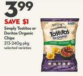 Simply Tostitos or Doritos Organic  Chips 213-240g Pkg
