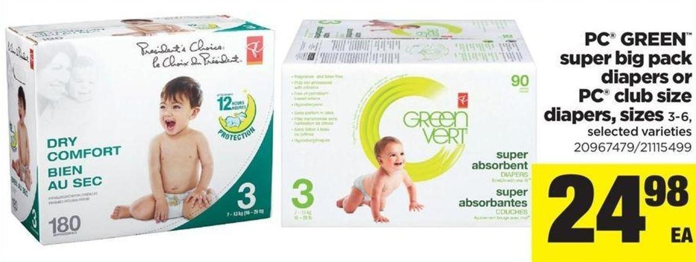 PC Green Super Big Pack Diapers Or PC Club Size Diapers - Sizes 3-6
