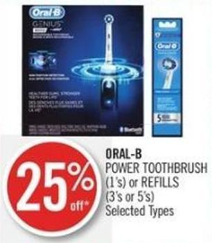 Oral-b  Power Toothbrush (1's) or Refills (3's or 5's)