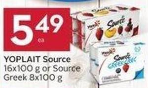 Yoplait Source 16x100 g or Source Greek 8x100 g
