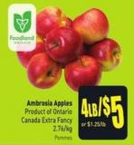 Ambrosia Apples Product of Ontario Canada Extra Fancy 2.76/kg