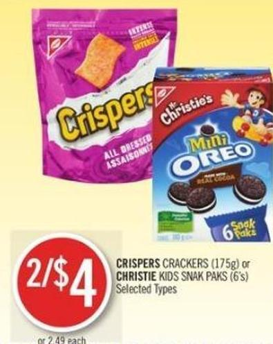 Crispers Crackers (175g) or Christie Kids Snak Paks (6's)
