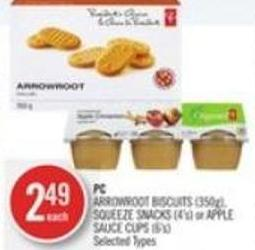 PC Arrowroot Biscuits (350g) - Squeeze Snacks (4's) or Apple Sauce Cups (6's)