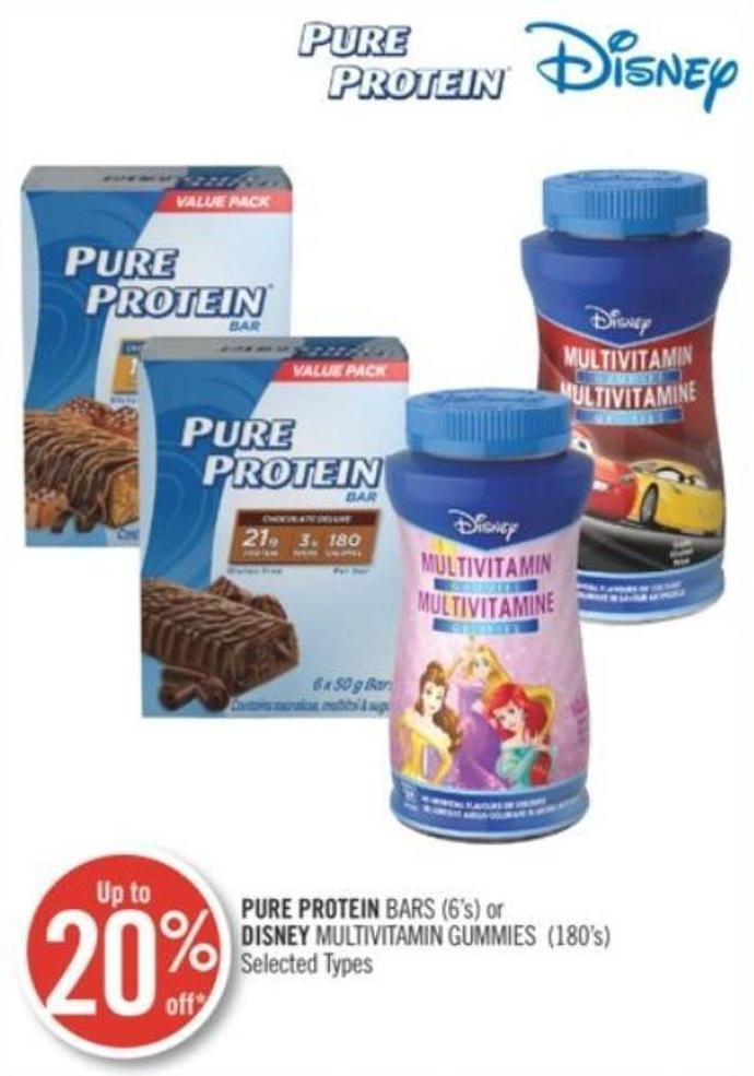 Pure Protein Bars (6's) or Disney Multivitamin Gummies (180's)