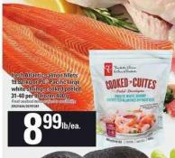 Fresh Atlantic Salmon Fillets Or PC Pacific Large White Shrimp - Cooked Peeled - 31-40 Per Lb Frozen 400 G