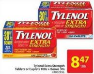 Tylenol Extra Strength Tablets or Caplets 100s + Bonus 30s