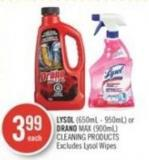 Lysol (650ml - 950ml) or Drano Max (900ml) Cleaning Products