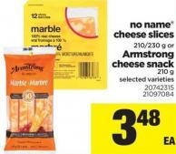 No Name Cheese Slices - 210/230 g Or Armstrong Cheese Snack - 210 g