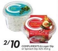 Compliments 6-layer Dip or Spinach Dip 425-454 g