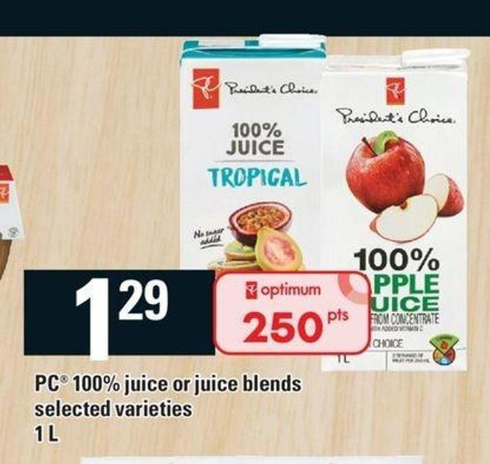 PC 100% Juice Or Juice Blends - 1 L