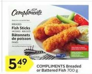 Compliments Breaded or Battered Fish