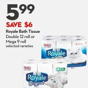 Royale Bath Tissue Double 12 Roll or Mega 9 Roll