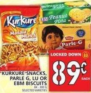 Kurkure Snacks - Parle G - Lu Or Ebm Biscuits