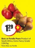 Bosc or Forelle Pears Product of South Africa - Extra Fancy Grade 2.84/kg