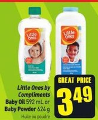 Little Ones By Compliments Baby Oil 592 mL or Baby Powder 624 g