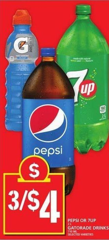 Pepsi Or 7up Or Gatorade Drinks