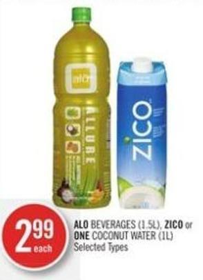 Alo Beverages (1.5l) - Zico or One Coconut Water (1l)