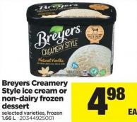 Breyers Creamery Style Ice Cream Or Non-dairy Frozen Dessert - 1.66l