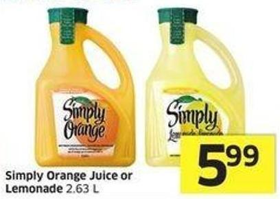 Simply Orange Juice or Lemonade 2.63 L
