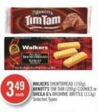 Walkers Shortbread (150g) - Arnott's Tim Tam (200g) Cookies or Sheila G's Brownie Brittle (113g)
