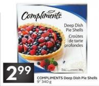 Compliments Deep Dish Pie Shells 9in 340 g