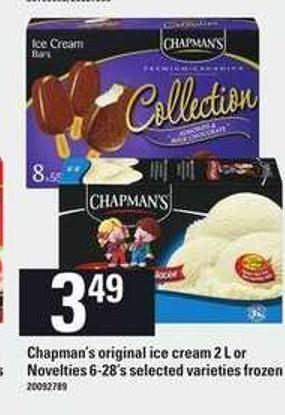 Chapman's Original Ice Cream 2 L Or Novelties 6-28's