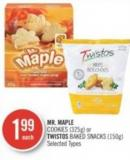 Mr. Maple Cookies (325g) or Twistos Baked Snacks (150g)