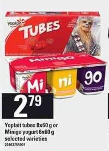 Yoplait Tubes - 8x60 G Or Minigo Yogurt - 6x60 G