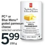 PC Or Blue Menu Grated Parmesan Cheese Selected Va - 250 G