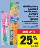 GUM Battery Powered Toothbrush - Denture Brush Or Tongue Cleaner Brush - 1 Ea.